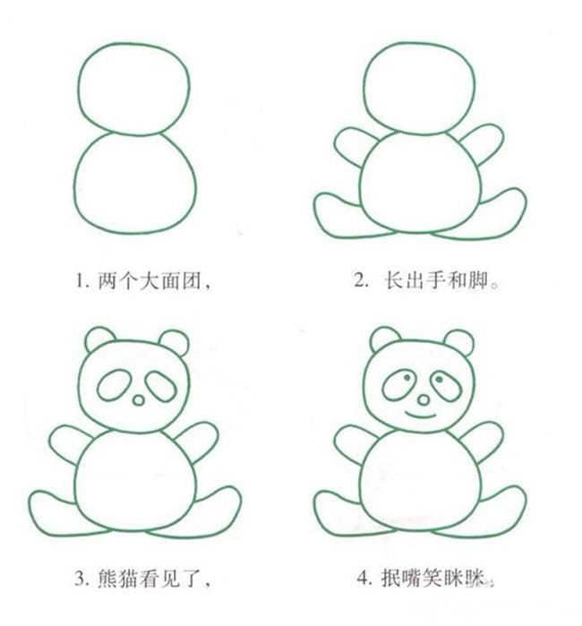 儿童简笔画熊猫的画法,教你怎么画熊猫