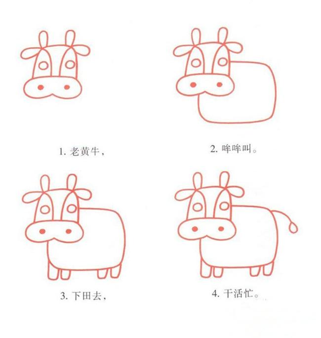 儿童简笔画牛的画法,教你怎么画牛