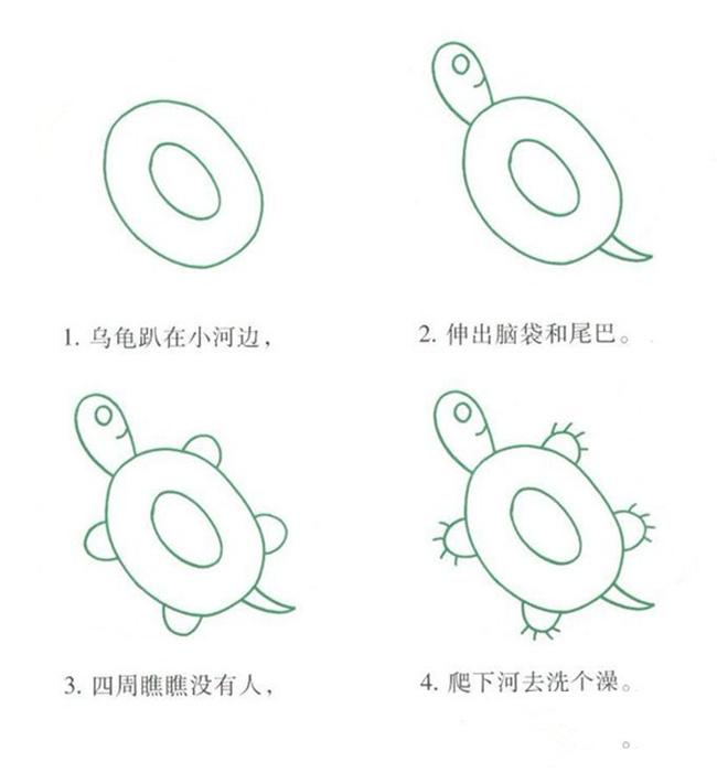 儿童简笔画乌龟的画法,教你怎么画乌龟