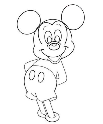米老鼠画法:米老鼠从简笔画到填色的整个过程图文教程米老鼠,米老鼠简笔画,米老鼠教程米老鼠是比较早的卡通动画片《米老鼠和唐老鸭》中的经典动画形象。今天,小编就将米老鼠的整个绘画过程展示给大家,这其中既包括了从简单的简笔画过程画起,也包括了后期的填色教程。米老鼠绘画: 步骤一、先画轮廓,把耳朵和脸部的上半部分勾勒出来;  米老鼠绘画步骤二、勾出皮肤的轮廓,包括脸部下半部和额头;  米老鼠绘画步骤三、擦掉多余部分,同时用圆圈勾出肚子的轮廓;  米老鼠绘画步骤四、用同样的手法画出米老鼠的眼睛;  米老鼠绘画步骤五