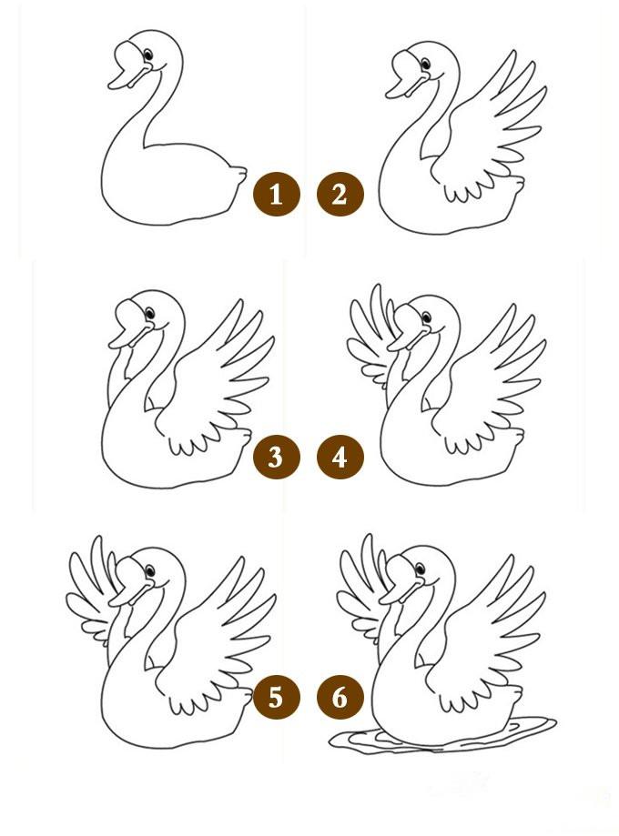 简笔画天鹅的画法,是厦门美术培训一直想奉献给大家的,只是一直苦于没有合适的素材。今天,我就给大家送上一个天鹅的简笔画画法教程:1、*先画出天鹅头部和身体的框架;2、加上正面身体的翅膀;3、加上背面翅膀的骨架;4、画出背面翅膀的羽毛;5、天鹅全部花完;6、在天鹅下身子下面画水。